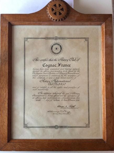 Charte du Rotary club de Cognac